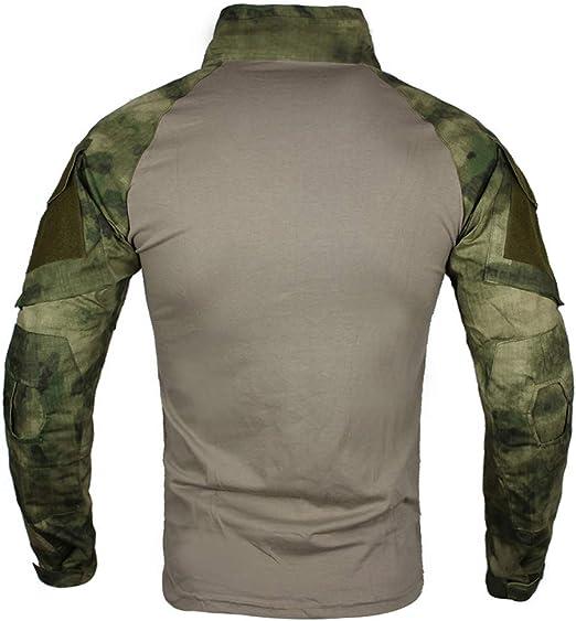 zuoxiangru Herren Taktisch Kampf T-Shirt Ripstop Atmungsaktiv Multicam Hemd f/ür die Jagd Milit/är Airsoft