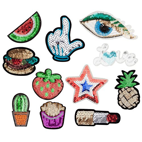 - Sequin Embroidered Patches Iron on, Sew on Decorative Embroidery Patches Glitter Applique Patch Love Star Fruits Design for Kids and Adults Jackets, Jeans, T-Shirt, Clothes, Hat, Bag [11Pcs]
