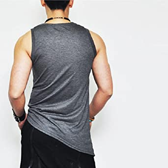 8d17f66d867a Amazon.com  vermers Clearance Fashion Men s Tank Tops Summer Slant-Cut  Bottom Sleeveless Pure Color Vest T Shirt Blouse  Clothing
