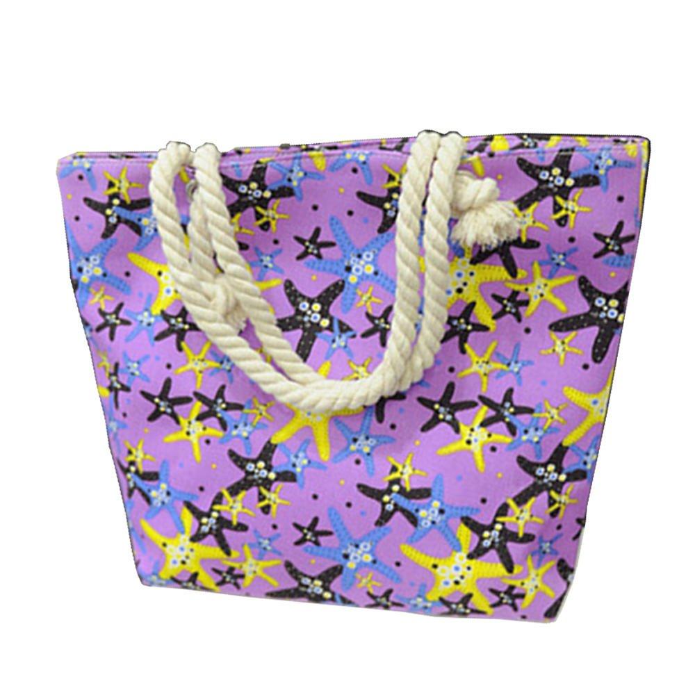 Manka VESAレディースガールズレジャーストライプキャンバスショルダーハンドバッグLarge Schoolビーチトートバッグ B06XQFZXQN Starfish violet Starfish violet