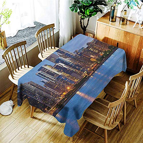 AndyTours Small Rectangular Tablecloth,Chicago Skyline,Fashions Rectangular,W54x72L Blue Orange Taupe ()