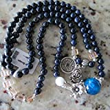 6mm Blue Sand Stone Mala Bracelet Necklace Prayer Beads