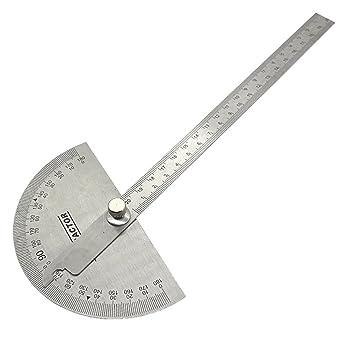 UEETEK Multifuncional de acero inoxidable 180 grados del transportador de ángulos Buscador con medición de brazo Medición de regla plegable Ángulo ...