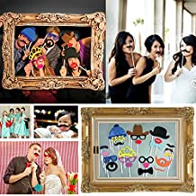 Bluecookies Photo Booth Props 24pcs DIY Kit with Large Frame for Wedding Birthday Graduation Party Favor