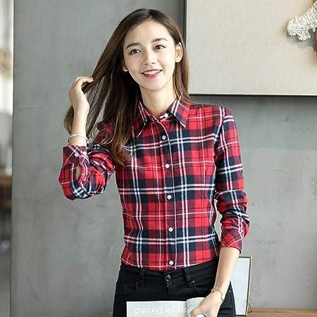 NSSYL Tops de Mujer Solapa Tallas Grandes Blusas Mujeres Camisa a Cuadros Cheques Camisas de Franela Manga Larga Femenina, XL: Amazon.es: Hogar