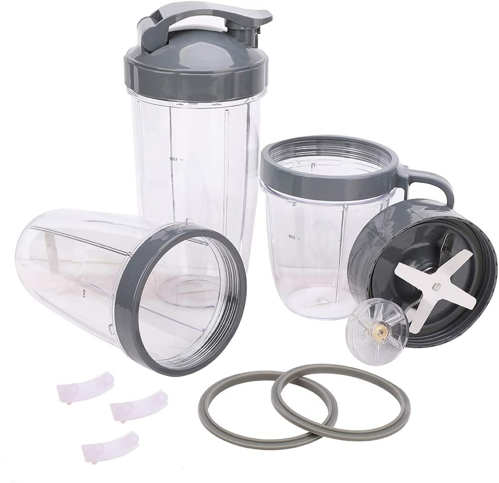 13 Pack Blender 32/24/18OZ Cups Containers & Extractor Blade Replacement Parts Kit - Compatible with Nutribullet Mixer 600W/900W Series NB-101B NB-101S NB-201, Include Gear & Gaskets & Shock Pad