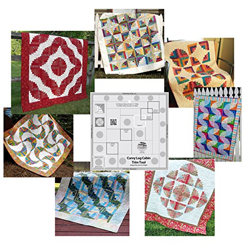 - Bundle of Creative Grids Curvy Log Cabin Trim Tool 8in Finished Blocks and Seven (7) Cut Loose Press Curvy Log Cabin Quilt Patterns