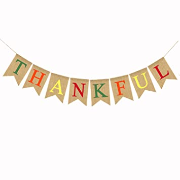 Thankful Burlap Banner Thanksgiving Bunting Banner Give Thanks Party Decoration Fall Pumpkin Party Decorations Happy Thanksgiving