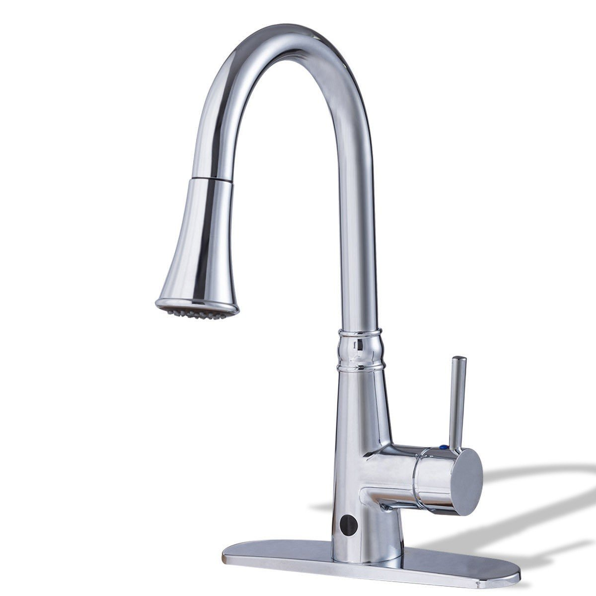 zwan Pull-Down Single Handle Dual Spray Chrome Kitchen Faucet with Ebook