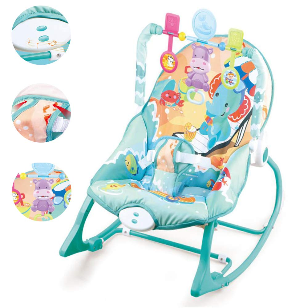 JFMBJS Baby Rocker Chair, Portable Baby Comfort Bouncer with Music Soothing Vibration, Multifunctional Electric Baby Rocking Chair Toy for 0-3 Years Old by JFMBJS