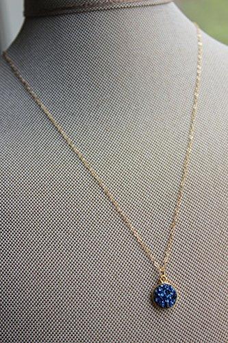 Dark Blue Round Druzy Necklace Pendant Circle Drusy Jewelry 18