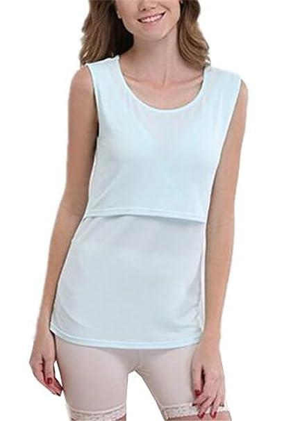 Tayaho Ropa de Maternidad Mujeres Tops de Lactancia Top Corto de Enfermería T-Shirt Sin
