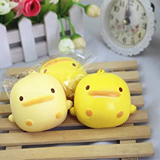 Teydhao Cute Cartoon Round Duck Anti Stress Squeeze Squishy Ball Silicone Sensory Ball with Multiple Styles Soft Spikes Anxiety Relief Toy Wrist Stress Relive Handbag Keychain Decor Gift - Random Color