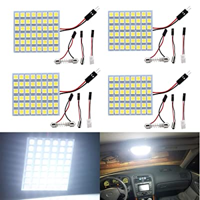 EverBright Super White Led Panel Dome Light, Led Interior Car Lights for Led Dome Light Map Light Cargo Light with T10 BA9S Festoon Adapters, 48SMD 5050 Chips DC-12V, Pack of 4: Automotive
