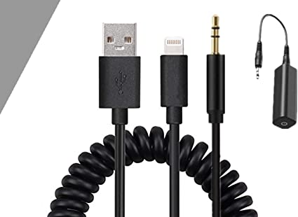 HAIN AUX in Adapter 3.5mm Jack /&USB Y Cable Coiled Car Audio Interface Charger Cord Stretched Length 2 Meters Compatible for iPXs Xs Max XR for BMW