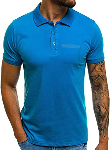 Camisas de Manga Corta Hombre con Bolsillo Moda Diario Slim Fit Casual T-Shirt Blusas Camisas Elegante BáSica Camiseta para Hombres Diario XXXL riou: Amazon.es: Ropa y accesorios