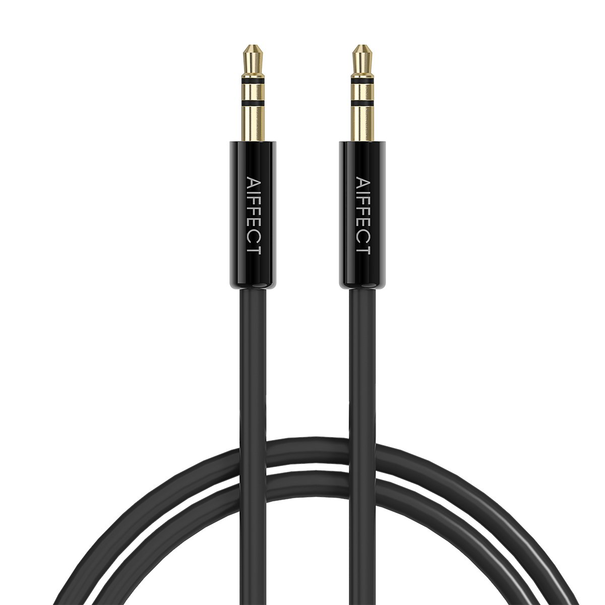AIFFECT 1.6Ft(0.5m) Tangle-Free Male to Male 3.5mm Auxiliary Audio Cable, Gold Plated, for Apple, Android Smartphones, Tablet and MP3 Players – Black