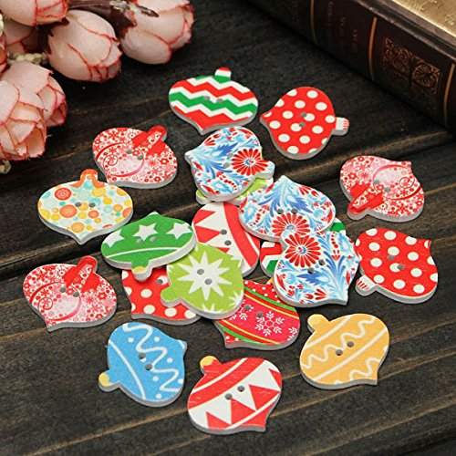Bazaar 20pcs Christmas Wooden Sewing Buttons DIY Craft Purse Baby Clothes Decoration Sewing Button Big Bazaar