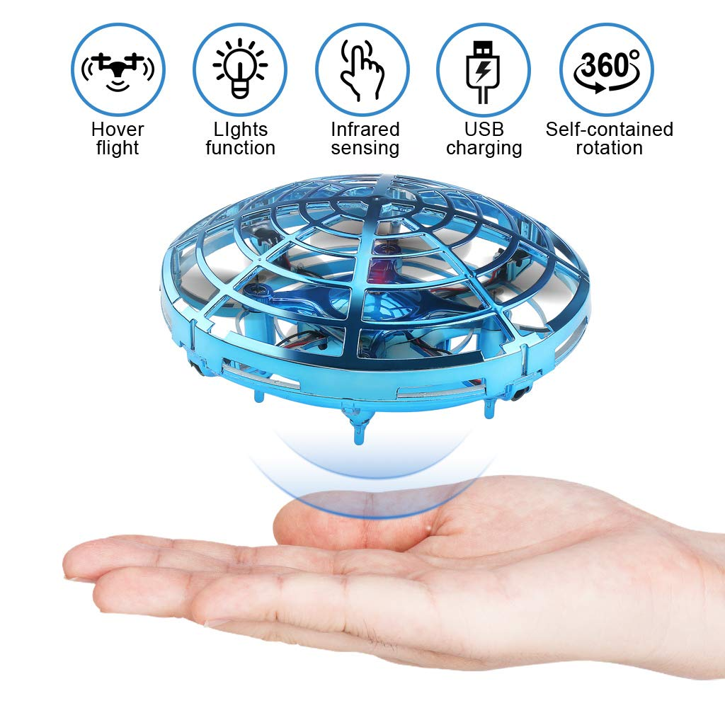 Flying Toys Drones for Kids Mini Drones with 2 Batteries Hand Controlled Flying Ball Drone Toys with 2 Speed and LED Light for Kids and Adults, Boys and Girls Toys S20 (Blue) by EAHUMM