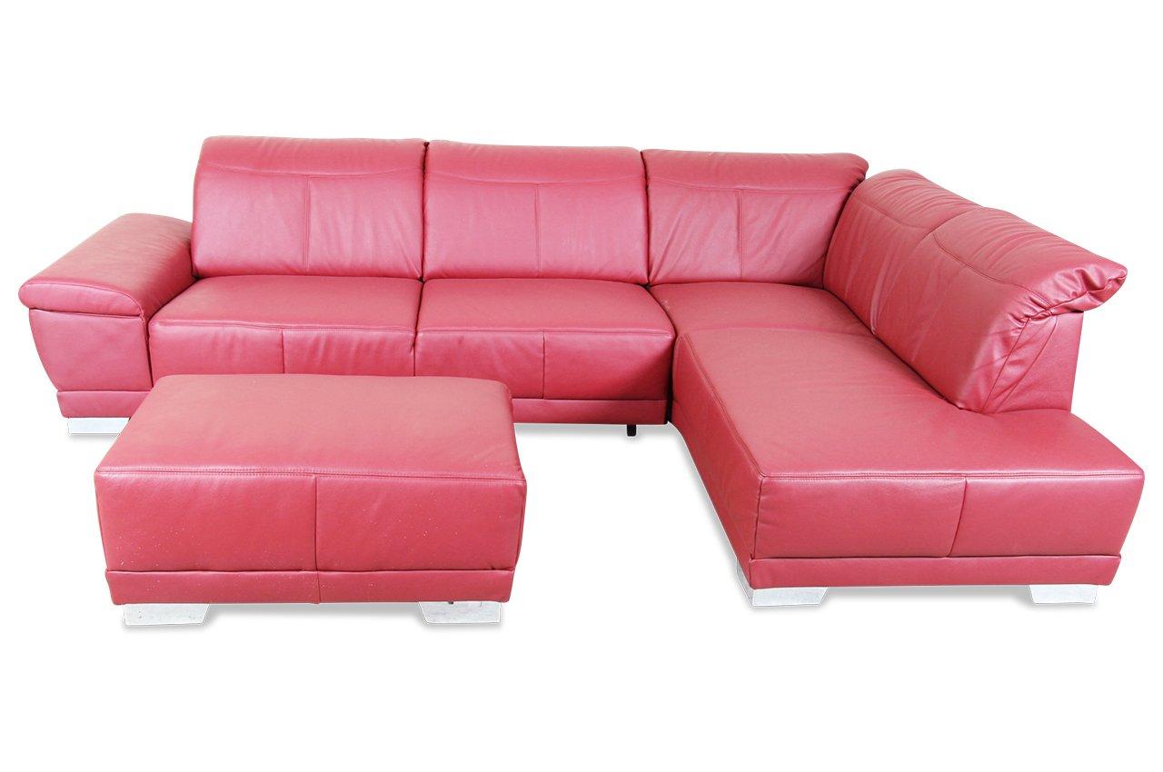 Sofa ADA Alina Megaecke 7621 - Echt-Leder Rot