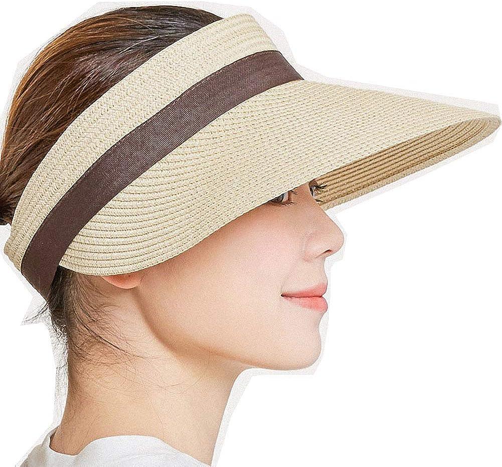 Impacchettabile con Visiera a Tesa Larga Cappello da Spiaggia Ulalaza Visiera da Sole Pieghevole in Paglia Estiva da Donna con Visiera Arrotolabile UPF 50