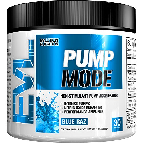 Evlution Nutrition Pump Mode Nitric Oxide Booster to Support Intense Pumps, Performance and Vascularity, 30 Serving (Blue Raz)