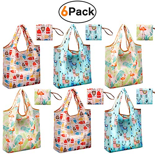 Reger Foldable Nylon Light Weight Compact Grocery Shopping Storage Bags Reusable & Mathine Washable Fits in Pocket Eco Friendly -