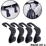 KURTZY Car Backseat Head Rest Hook/Hanger, Plastic Storage Holder for Groceries, Handbags, Coat, Purse and Bags - (Pack of 4) - Black