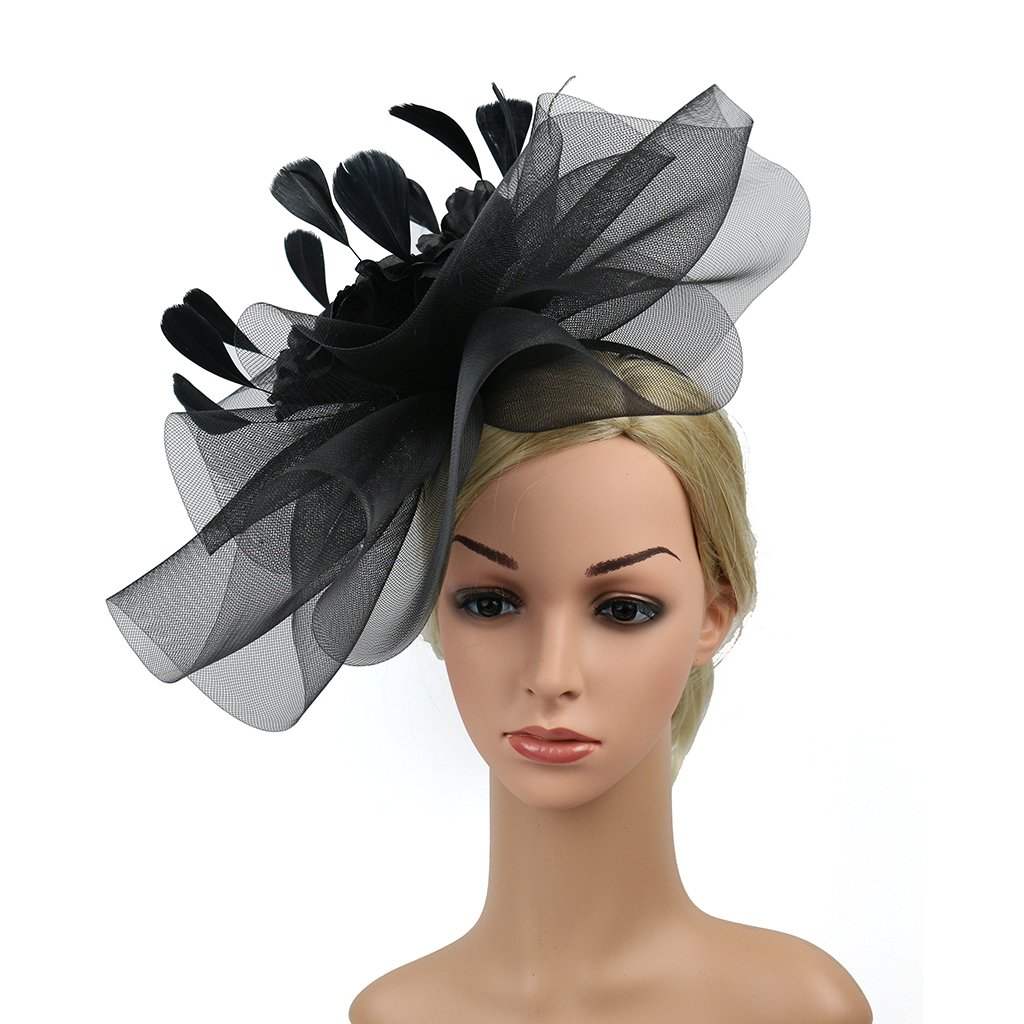 Merya Dress Kentucky Derby Fascinator Hats Feather Prom Cocktail Tea Party Hat Black-AA by Merya Dress (Image #6)