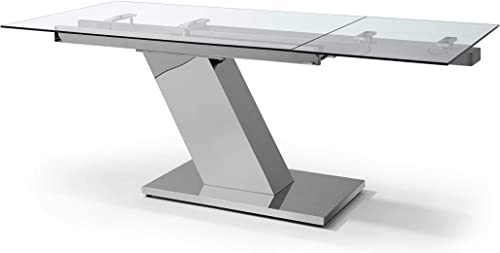 HomeRoots Extendable Dining Table 1 2 Tempered Clear Glass Top, Aluminum Plates, Stainless Steel Base