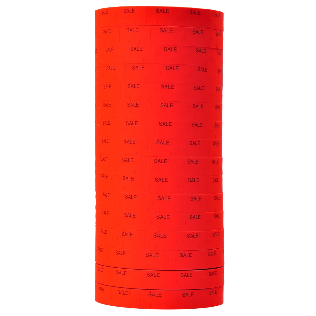 Black Print on Fluorescent Red SALE Labels to fit Monarch 1110 Pricers. 16 Rolls with 1 Free Ink Roller.