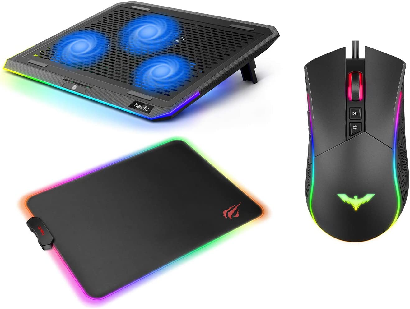 havit RGB Laptop Cooling Pad for 15.6-17 Inch Laptop and RGB Gaming Mouse Pad and RGB Gaming Mouse Wired Programmable