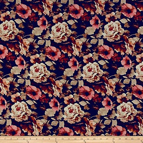 TELIO Kimono Chiffon Print Floral Navy Fabric The Yard
