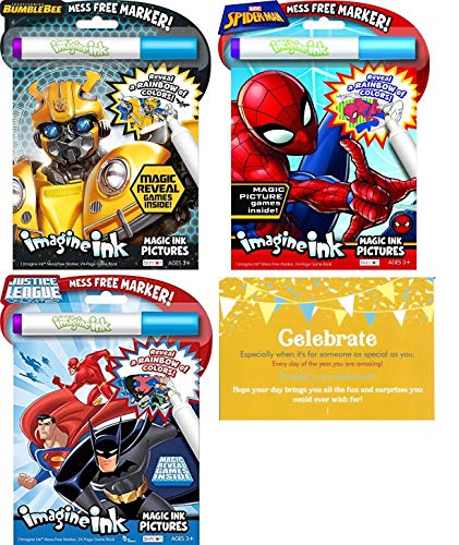 Spider-Man, Justice League, and Bumble Bee Transformers Bundle of 3 Imagine Ink and 1