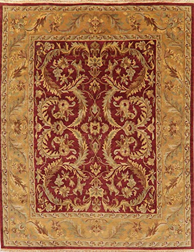 - Agra Oriental Area Rug Wool New Hand-Knotted Floral All-Over 8X10 Indian Carpet