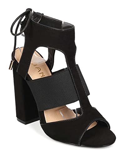 8e23ecfaa637 Liliana Women Suede Peep Toe Elastic Lace Up Block Heel Sandal EH02 - Black  (Size