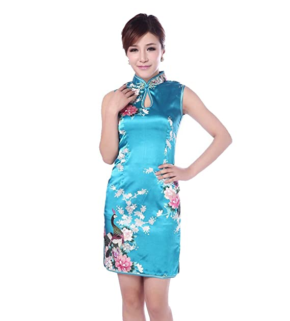 70bdd7c85 Jtc Women's Chinese Blue Silk Printing Flower Short Cheongsam Dress 1PC ...