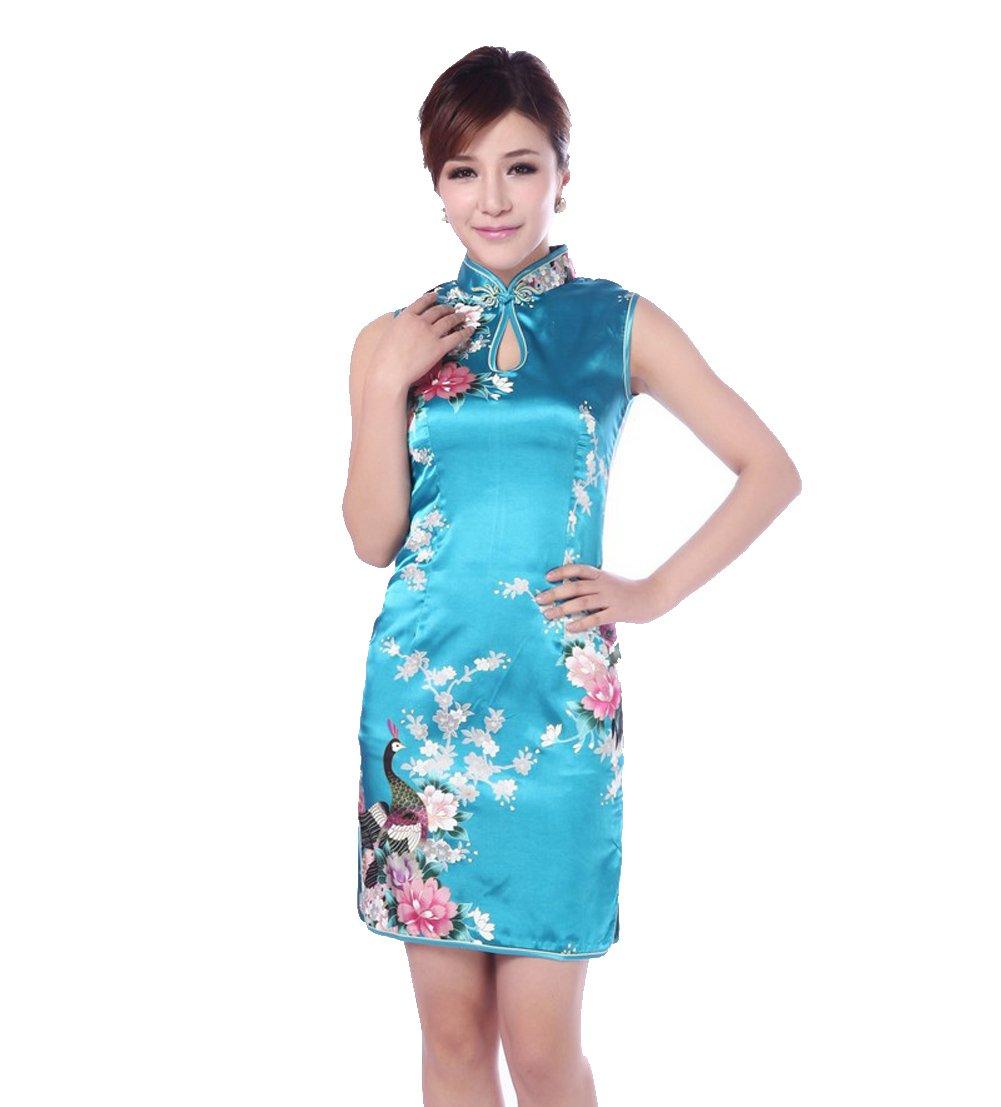 JTC Women's Chinese Blue Silk Printing Flower Short Cheongsam Dress 1PC (4)