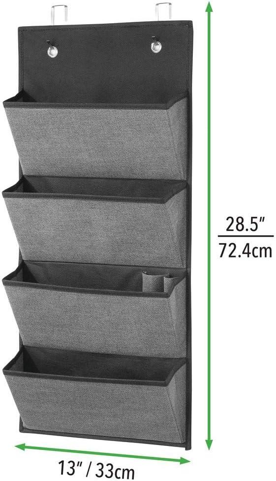 Stoffschrank zum H/ängen /über die T/ür oder zur Wandmontage braun Organizer aus atmungsaktiver Kunstfaser mit vier Taschen mDesign 2er-Set H/ängeorganizer mit Strukturmuster