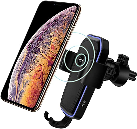 YOFUNTLE Gravity Clamping Qi Fast Wireless Car Charger Mount,Air Vent Phone Holder Charging Mount Bracket Compatible for iPhone Xs//Xs Max//XR//8//8 Plus,Samsung Galaxy S10//S10+//S10e//S9//S9+//S8//S8+//Note 9