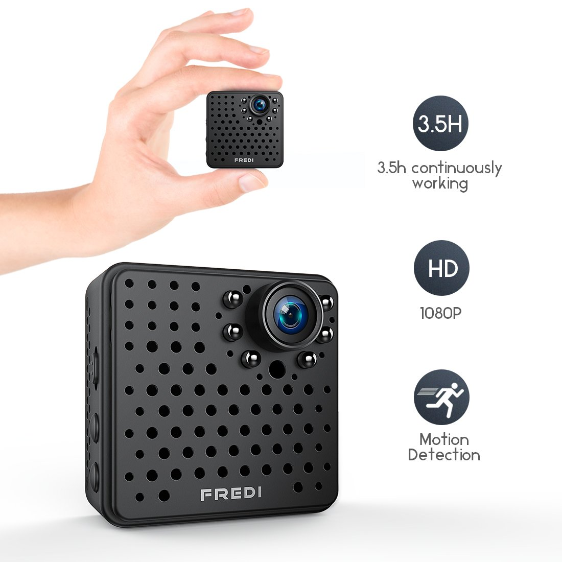 FREDI WiFi Mini Wireless Small 1080p HD Portable Camera with Night  Vision,Motion Detection for iPhone/Android Phone/iPad Remote View(Support  128G SD