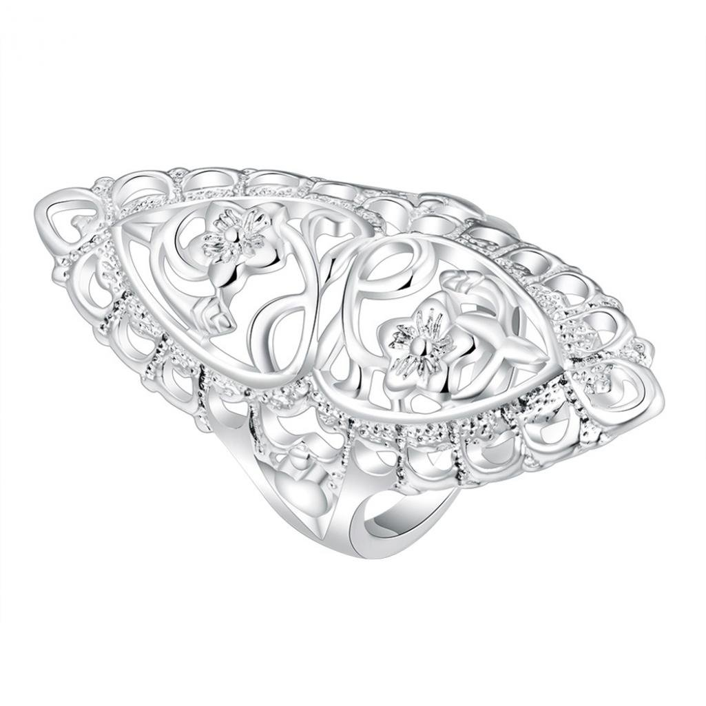 Donna placcato argento retro intarsiato carving fiore Hollow Ring Jewelry party Gift Amesii 22 colore: US 10 cod. AME