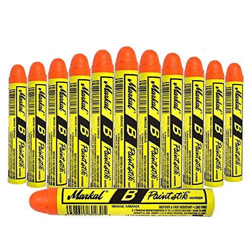 12 Pc Box Orange Markal B Paintstiks Crayon Marks Water Oil Dirt Extreme Temp Paint Stick Chalk for Auto Tire Construction Fabric Lumber ()