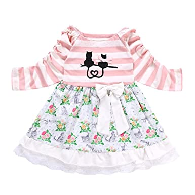 602cb13ee141 Dinlong Toddler Kids Baby Girls Clothes Long Sleeve Dress Stripe ...