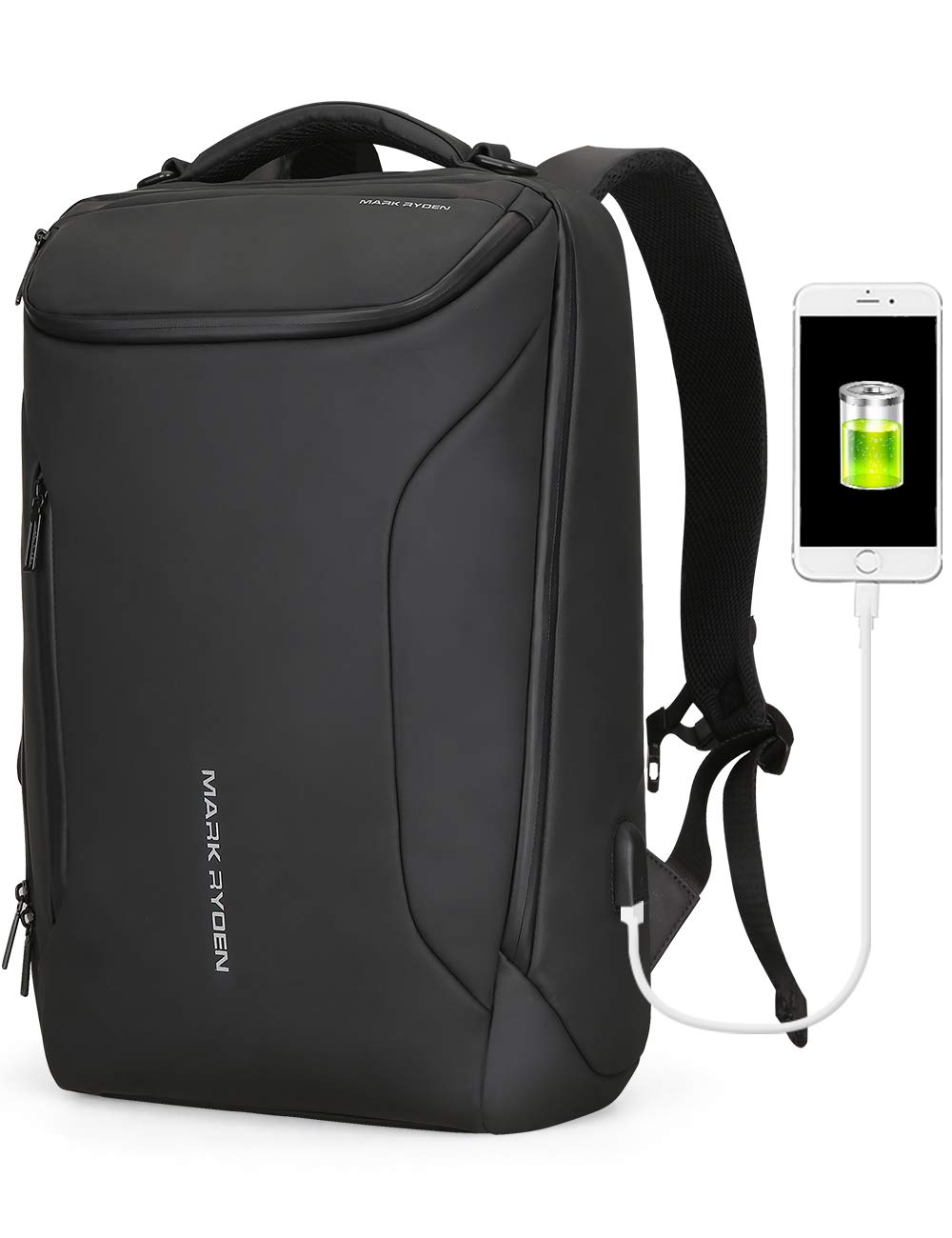 Water-proof Backpack Markryden large-capacity Modern rucksack Business Bags for men with USB Charging Port for School Travel hiking Work Pack Fits 17.3, 15.6 Inch Laptopop (Black (New)) by MARK RYDEN