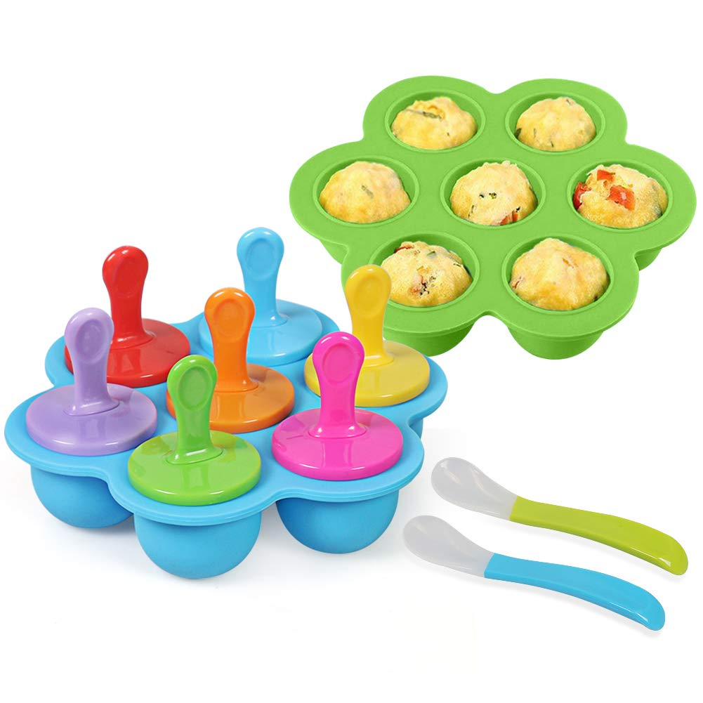 Billion Seed Silicone Egg Bites Molds for Baby Food Freezer Trays,Instant Pot Accessories with Popsicle Molds