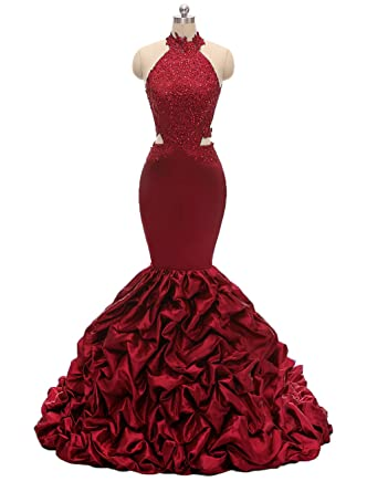 29bdcbad854 Womens Halter Mermaid Prom Dresses Long 2019 Backless Beaded Formal Evening  Gown with Lace Applique Burgundy