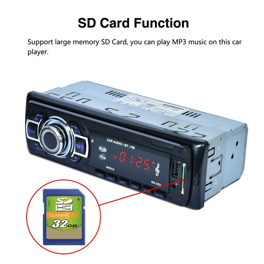 POMILE Car Stereo Audio Receiver Bluetooth, Car Radio MP3 Player Single Din In-Dash USB/SD/FM/AUX/MMC with Remote Control 12V, (No CD/DVD) by POMILE (Image #6)