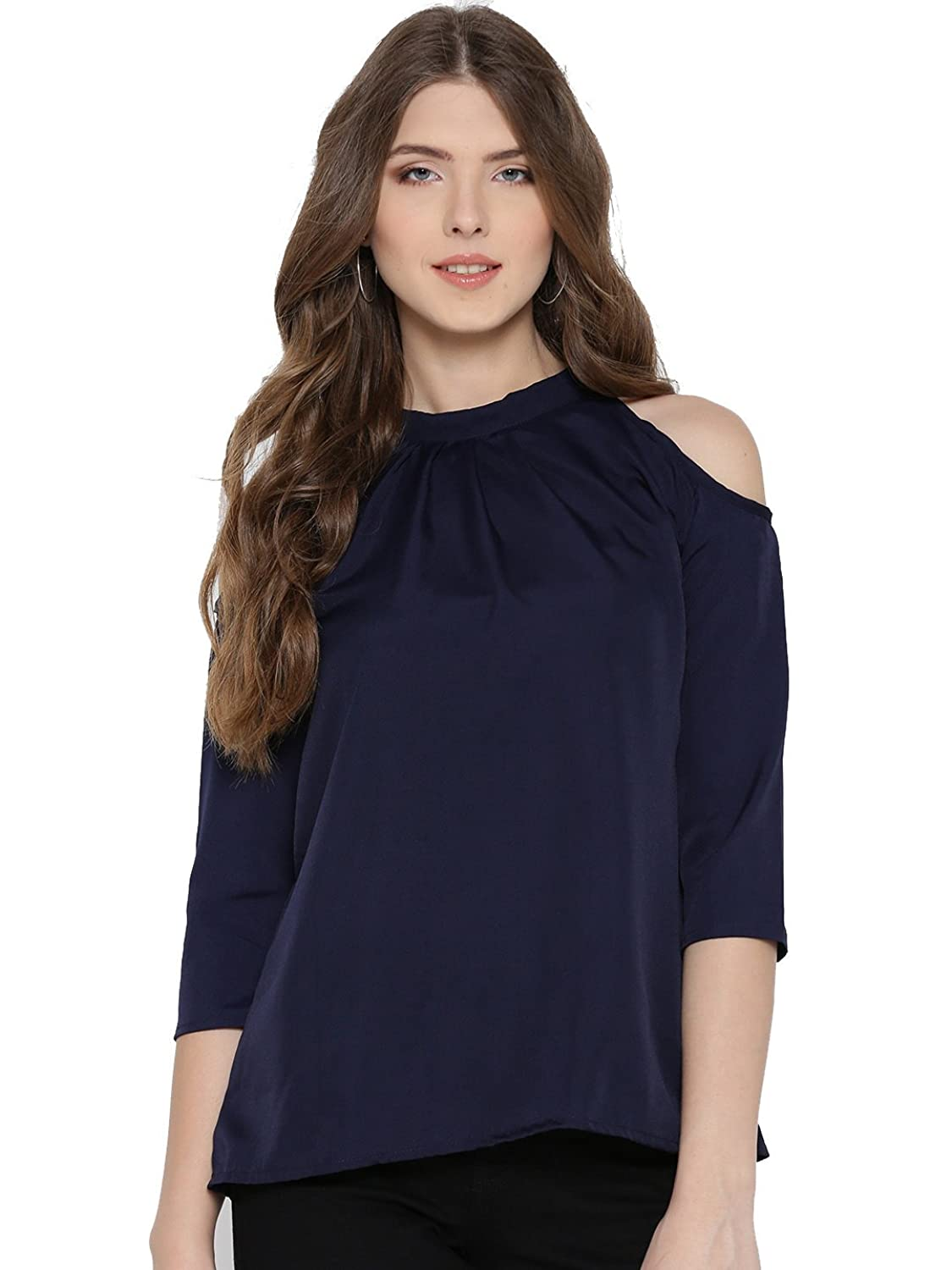 Amayr Women's Rayon Navy Blue Cold Shoulder Solid Top