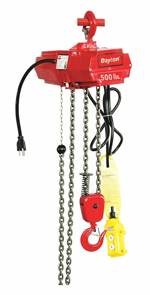 DAYTON 2GTD2 Electric Chain Hoist, 500 lb., 15 ft.: Amazon ... on
